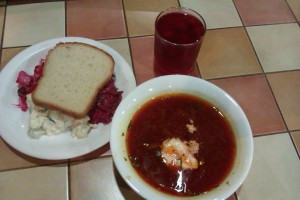 Borsch and salads in Кафе Хуторок